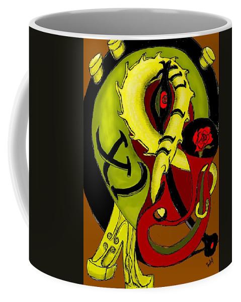 Clock Coffee Mug featuring the digital art The Clock by Helmut Rottler