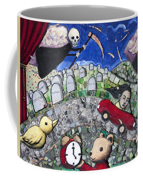 Death Coffee Mug featuring the painting The Clock Is Ticking by Pauline Lim