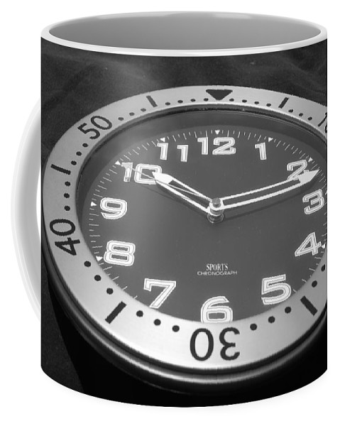 Black And White Coffee Mug featuring the photograph The Clock by Rob Hans