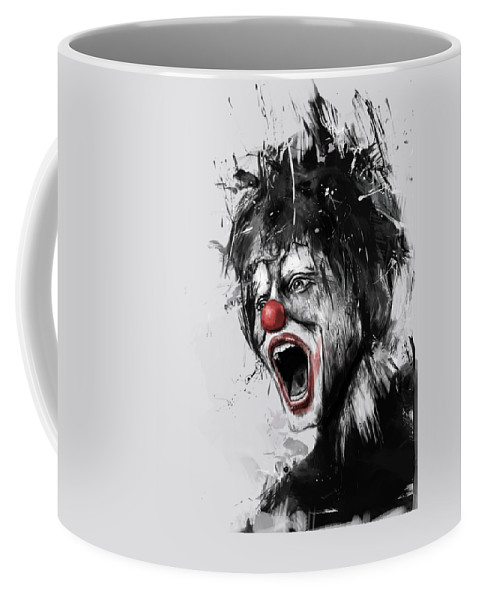 Clown Coffee Mug featuring the mixed media The Clown by Balazs Solti