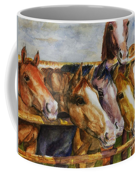 Horses Coffee Mug featuring the painting The Colorado Horse Rescue by Frances Marino