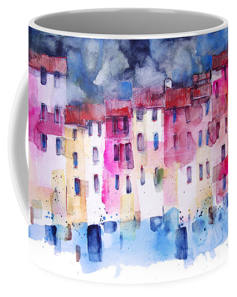 Architecture Coffee Mug featuring the painting The coloured houses of Portofino by Alessandro Andreuccetti