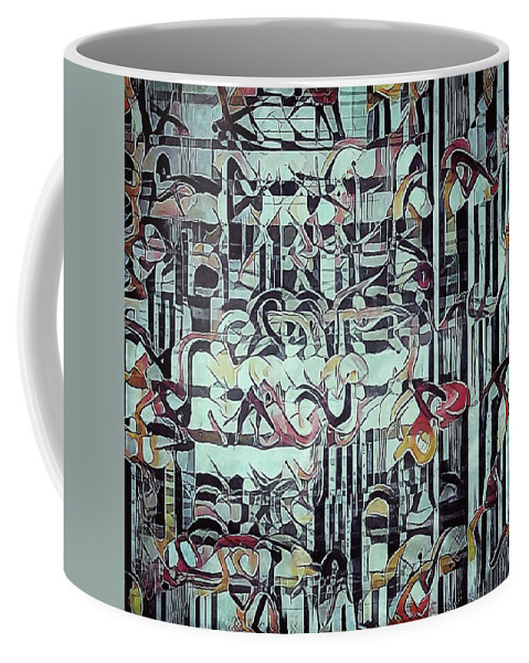Abstract Coffee Mug featuring the painting The Copied Myths by Philip Openshaw