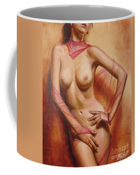 Oil Coffee Mug featuring the painting The Coral Bracelet by Sergey Ignatenko