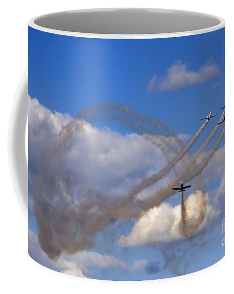 Aerostars Yak-50 Display Team Coffee Mug featuring the photograph The Corkscrew by Angel Tarantella