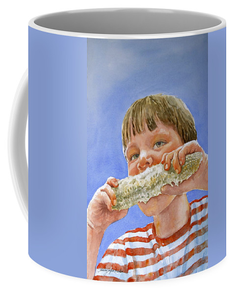 Corn Coffee Mug featuring the painting Andrew The Corn Eater by Shirley Sykes Bracken