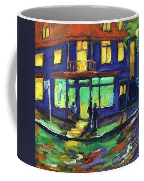 Town Coffee Mug featuring the painting The Corner Store by Richard T Pranke