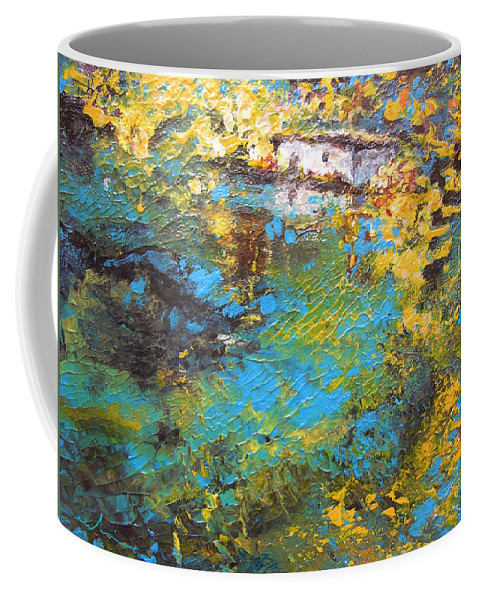 Water Coffee Mug featuring the painting The Cottage By The Lagoon by Miki De Goodaboom