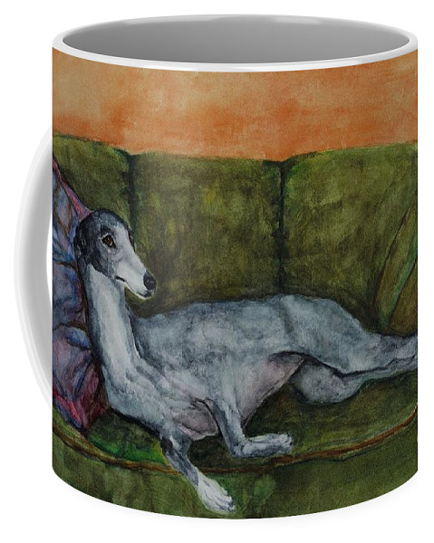 Greyhounds Coffee Mug featuring the painting The Couch Potatoe by Frances Marino