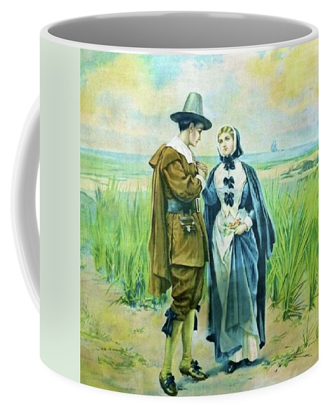 Courtship Coffee Mug featuring the painting The Courtship Of Miles Standish by Alfred Fredericks