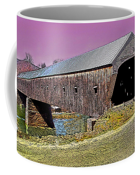 Landscape Coffee Mug featuring the photograph The Covered Bridge by Nancy Griswold