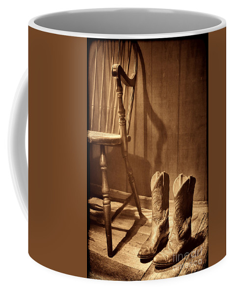 Cowgirl Boots Coffee Mug featuring the photograph The Cowgirl Boots And The Old Chair by American West Legend By Olivier Le Queinec