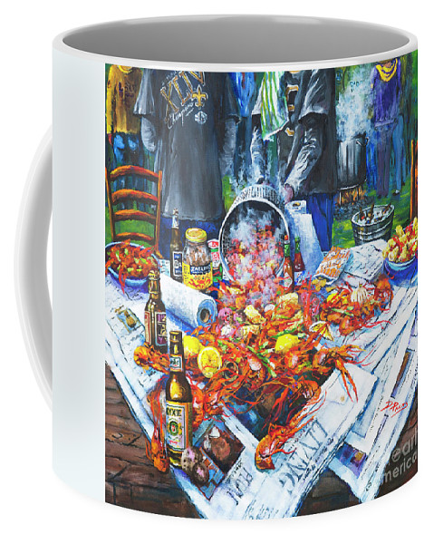 New Orleans Art Coffee Mug featuring the painting The Crawfish Boil by Dianne Parks
