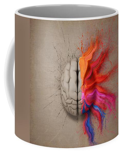 Brain Coffee Mug featuring the digital art The Creative Brain by Johan Swanepoel