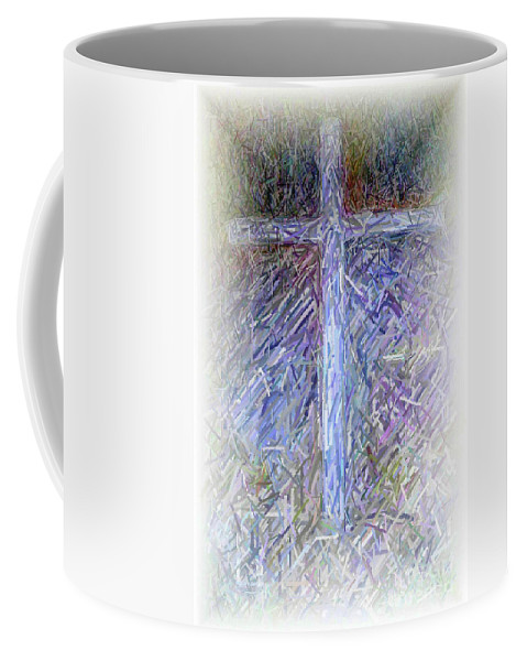 The Cross Coffee Mug featuring the digital art The Cross by Karen Francis