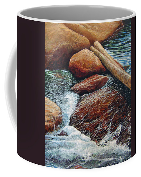 Stream Coffee Mug featuring the painting The Crossing by Hunter Jay