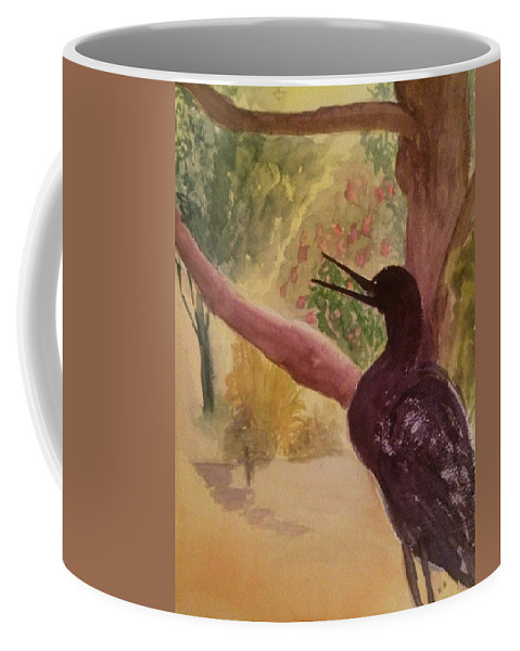 Watercolor Coffee Mug featuring the painting The Crow by Katherine Berlin