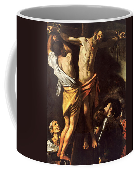 Caravaggio Coffee Mug featuring the painting The Crucifixion Of Saint Andrew by Caravaggio