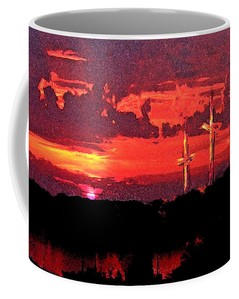Abstract Coffee Mug featuring the painting The Crucifixtion by Rachel Christine Nowicki