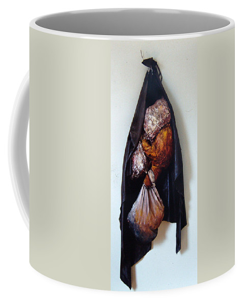 Acrylic Coffee Mug featuring the painting The Curtain by Nancy Mueller