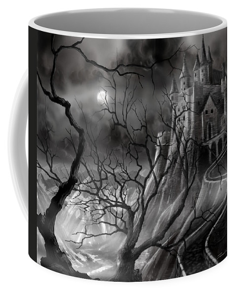 Castle Coffee Mug featuring the painting The Dark Castle by James Christopher Hill