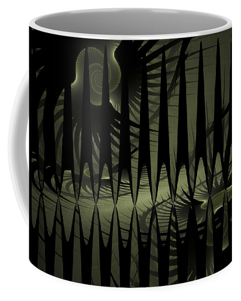 Fractal Coffee Mug featuring the digital art The Dark Forest by Amorina Ashton