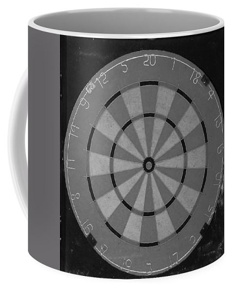 Macro Coffee Mug featuring the photograph The Dart Board In Black And White by Rob Hans