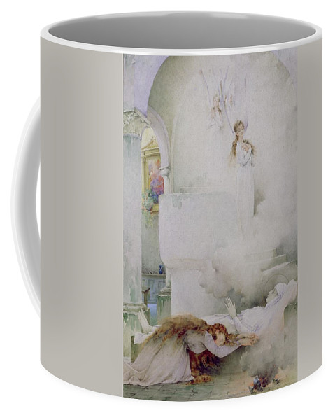 The Coffee Mug featuring the painting The Death Of The Virgin by Guillaume Dubufe