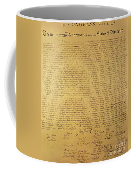 Declaration Of Independence Of The 13 United States Of America Of 1776 Coffee Mug featuring the painting The Declaration of Independence by Founding Fathers