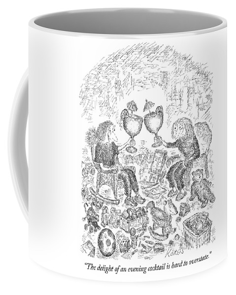 """the Delight Of An Evening Cocktail Is Hard To Overstate."" Coffee Mug featuring the drawing The Delight Of An Evening Cocktail by Edward Koren"