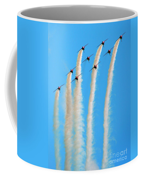 Red Arrows Coffee Mug featuring the photograph The Diamond Going Up by Angel Tarantella