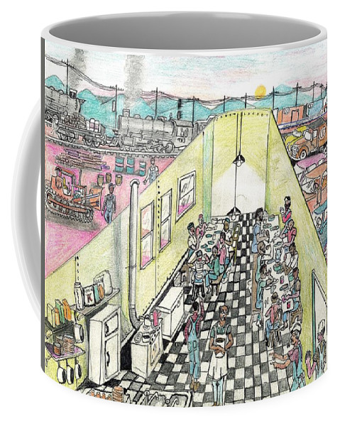Roanoke Coffee Mug featuring the drawing The Diner Car by David Ramey