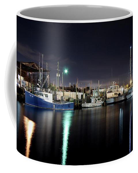 Tarpon Springs Coffee Mug featuring the photograph The Docks At Night by Bryan Goebert