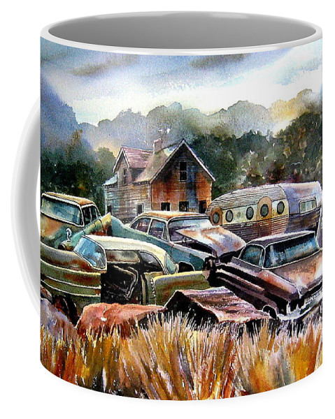 Old Wrecked Cars Coffee Mug featuring the painting The Donor Cars by Ron Morrison