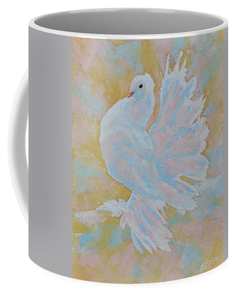 Dove Coffee Mug featuring the painting The Dove by Iliyan Bozhanov
