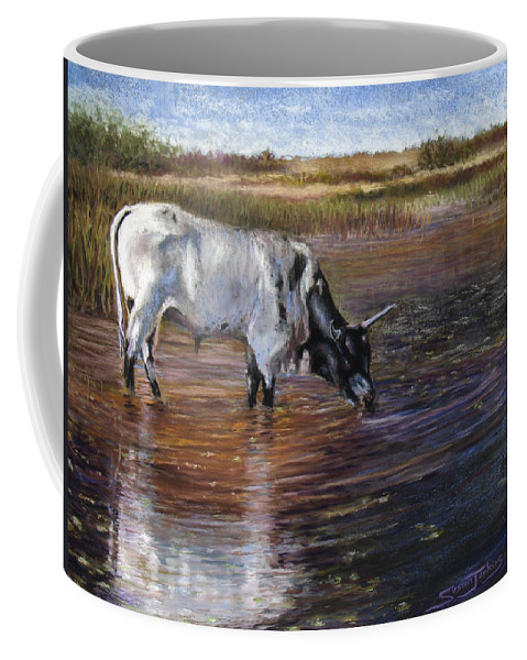 Cow Coffee Mug featuring the pastel The Drink by Susan Jenkins