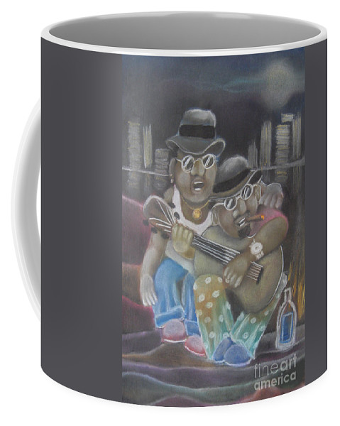 Musician Coffee Mug featuring the pastel The Dudes by Caroline Peacock