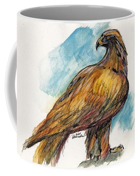 Eagle Coffee Mug featuring the drawing The Eagle Drawing by Angel Ciesniarska