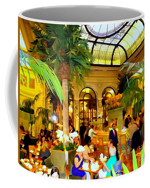 Digital Art Coffee Mug featuring the photograph The Easter Holiday Tea At The Palm Court by Ed Weidman