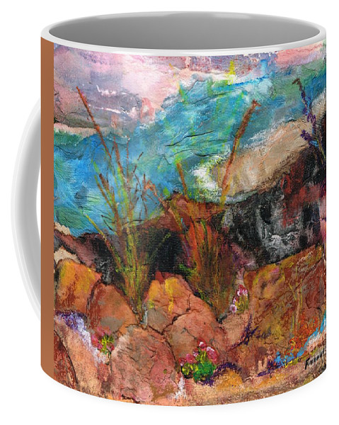 Desert Flowers Coffee Mug featuring the painting The Edge Of The Cliff by Frances Marino