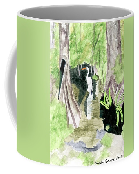 Egret Coffee Mug featuring the painting The Egret by Alexis Grone