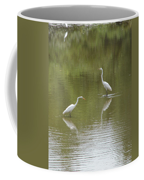 Egrets Coffee Mug featuring the photograph The Egret Pond by J R  Seymour