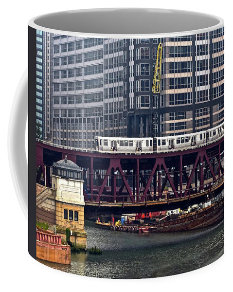 Chicago Coffee Mug featuring the photograph The El In Chicago by Frozen in Time Fine Art Photography