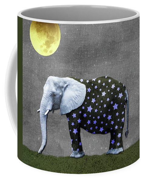 Elephant Coffee Mug featuring the photograph The Elephant And The Moon by Susan Newcomb