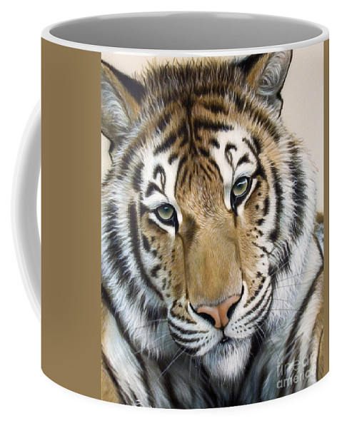 Acrylic Coffee Mug featuring the painting The Embrace by Sandi Baker