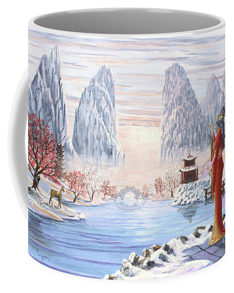Empress Coffee Mug featuring the painting The Empress And The Unicorn by Anthony Lyon
