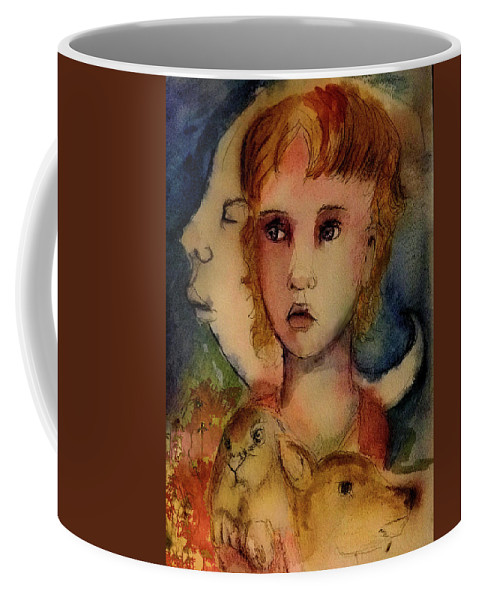 Girl Coffee Mug featuring the painting The Empty Man by Cynthia Richards