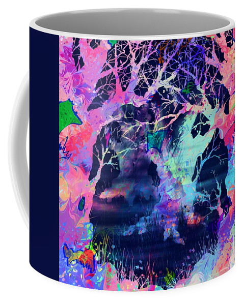 Abstract Coffee Mug featuring the digital art The Enchanted Wood by Rachel Christine Nowicki