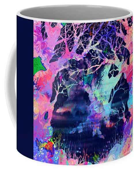 Abstract Coffee Mug featuring the digital art The Enchanted Wood by Rachel Christine Nowicki