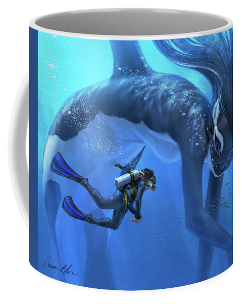 Mermaid Merwhale Fantasy Marine Coffee Mug featuring the digital art The Encounter by Aaron Blaise